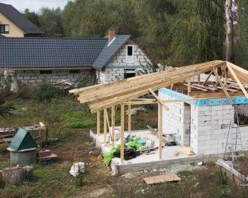 Баня с навесом - бетонный фундамент, стены и крыша